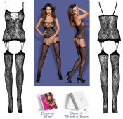 Obsessive Lingerie [ UK 6 - 12 ] Black F208 'Sexy' Bodystocking (E24030)
